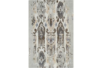 39X63 Rug-Wool Ikat Drip Grey & Brown