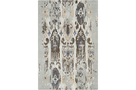 39X63 Rug-Wool Ikat Drip Grey & Brown