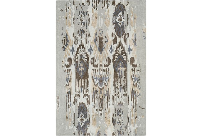 39X63 Rug-Wool Ikat Drip Grey & Brown - 360