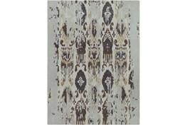 96X132 Rug-Wool Ikat Drip Grey & Brown