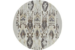 96 Inch Round Rug-Wool Ikat Drip Grey & Brown