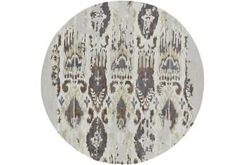 8' Round Rug-Wool Ikat Drip Grey & Brown