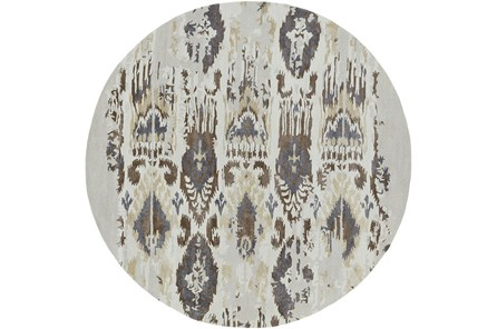 96 Inch Round Rug-Wool Ikat Drip Grey & Brown