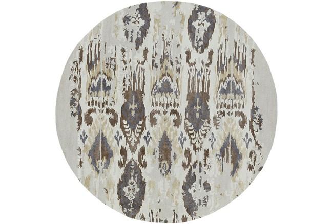 96 Inch Round Rug-Wool Ikat Drip Grey & Brown - 360