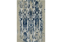24X36 Rug-Wool Ikat Drip Grey & Blue