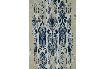 24X36 Rug-Wool Ikat Drip Grey & Blue