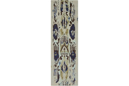 30X96 Rug-Wool Ikat Drip Grey & Blue