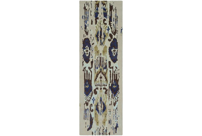 30X96 Rug-Wool Ikat Drip Grey & Blue - 360