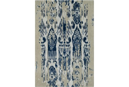 60X96 Rug-Wool Ikat Drip Grey & Blue