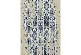 96X132 Rug-Wool Ikat Drip Grey & Blue