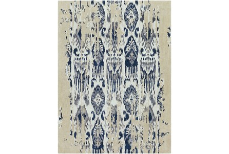 96X132 Rug-Wool Ikat Drip Grey & Blue