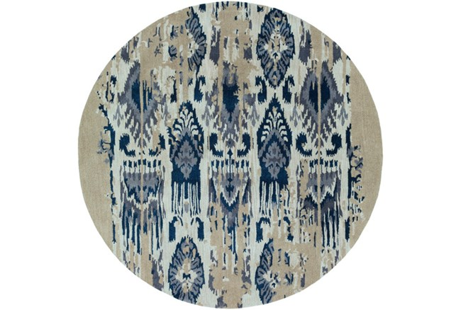 96 Inch Round Rug-Wool Ikat Drip Grey & Blue - 360