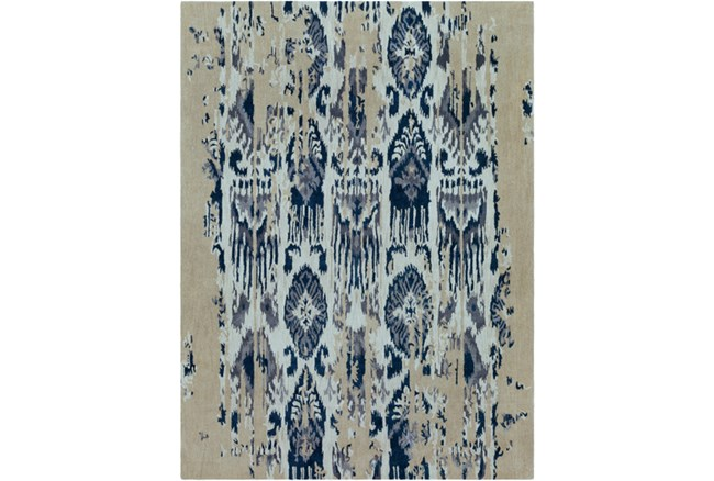 108X156 Rug-Wool Ikat Drip Grey & Blue - 360