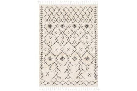 24X36 Rug-Native Tassel Shag Charcoal & Beige - Main
