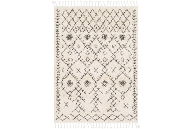 24X36 Rug-Native Tassel Shag Charcoal & Beige - 360