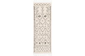 "2'6""x7'3"" Rug-Native Tassel Shag Charcoal & Beige"