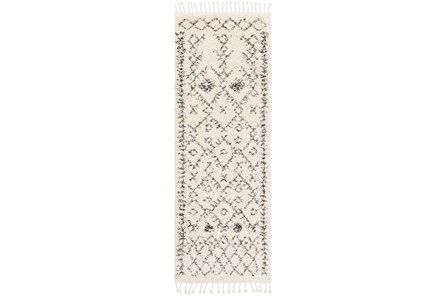 31X87 Rug-Native Tassel Shag Charcoal & Beige - Main