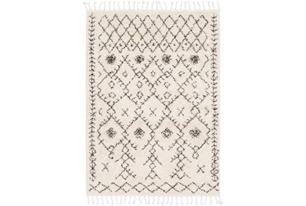 94X123 Rug-Native Tassel Shag Charcoal & Beige