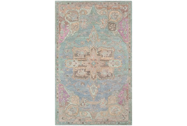 24X36 Rug-Centonze Traditional Aqua And Mauve - 360