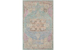 96X120 Rug-Centonze Traditional Aqua And Mauve