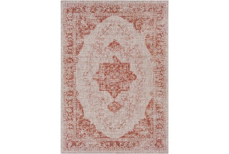 94X123 Outdoor Rug-Regal Medallion Orange