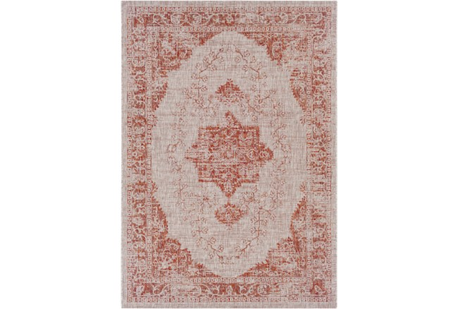 94X123 Outdoor Rug-Regal Medallion Orange - 360