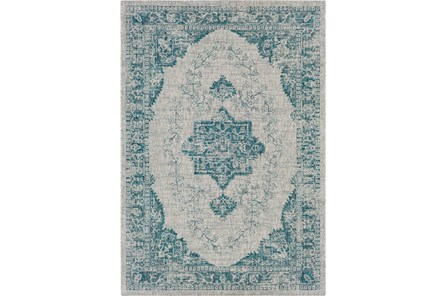 94X123 Outdoor Rug-Regal Medallion Aqua - Main
