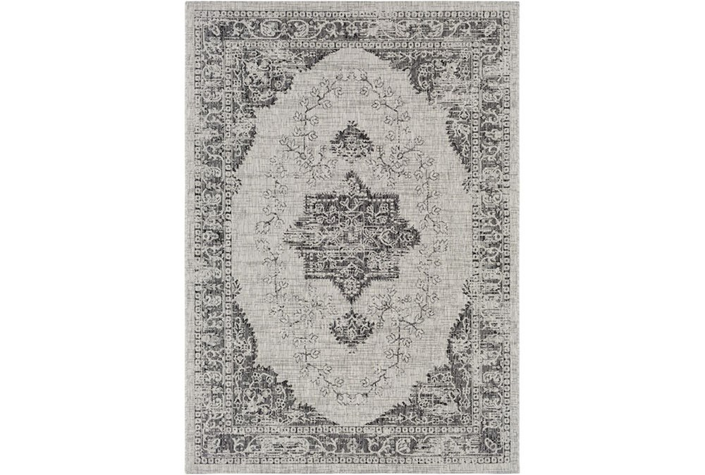 94X123 Outdoor Rug-Regal Medallion Black