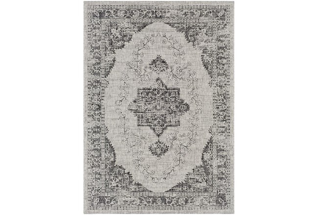 94X123 Outdoor Rug-Regal Medallion Black - 360
