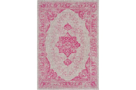 24X36 Outdoor Rug-Regal Medallion Bright Pink