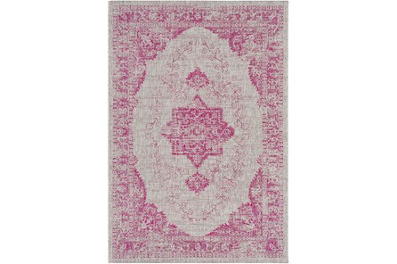 63X90 Outdoor Rug-Regal Medallion Bright Pink
