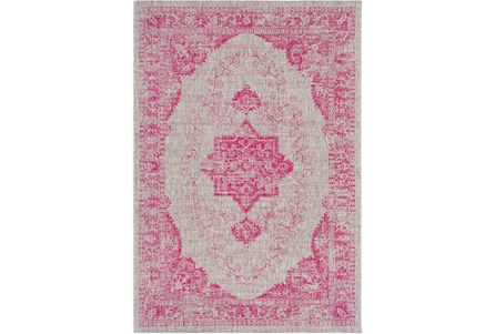 94X123 Outdoor Rug-Regal Medallion Bright Pink