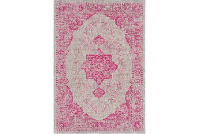 94X123 Outdoor Rug-Regal Medallion Bright Pink - 360