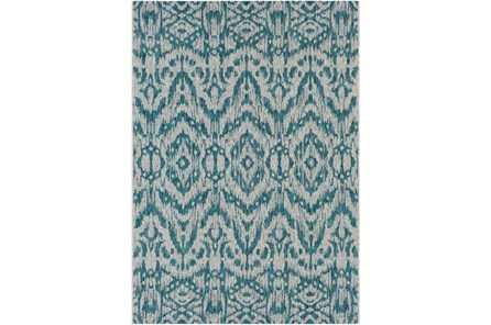63X90 Outdoor Rug-Regal Ikat Aqua - Main