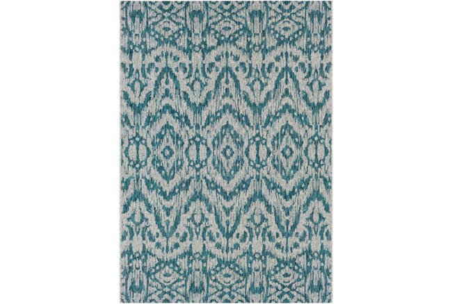 63X90 Outdoor Rug-Regal Ikat Aqua - 360