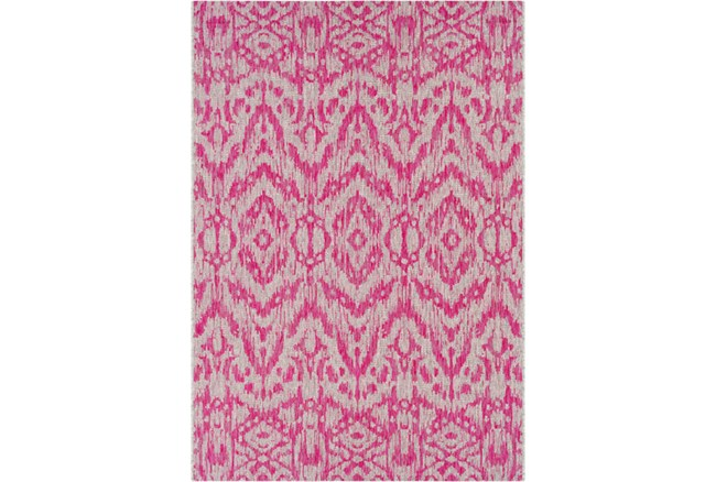 94X123 Outdoor Rug-Regal Ikat Bright Pink - 360