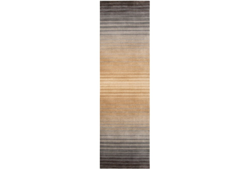 30X96 Rug-Tan And Charcoal Ombre Stripe