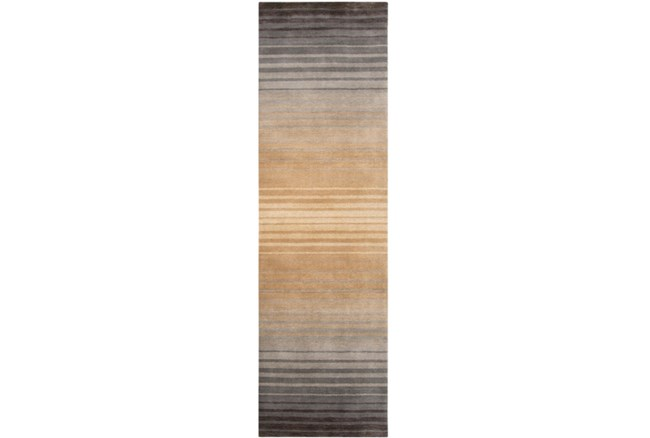 30X96 Rug-Tan And Charcoal Ombre Stripe - 360