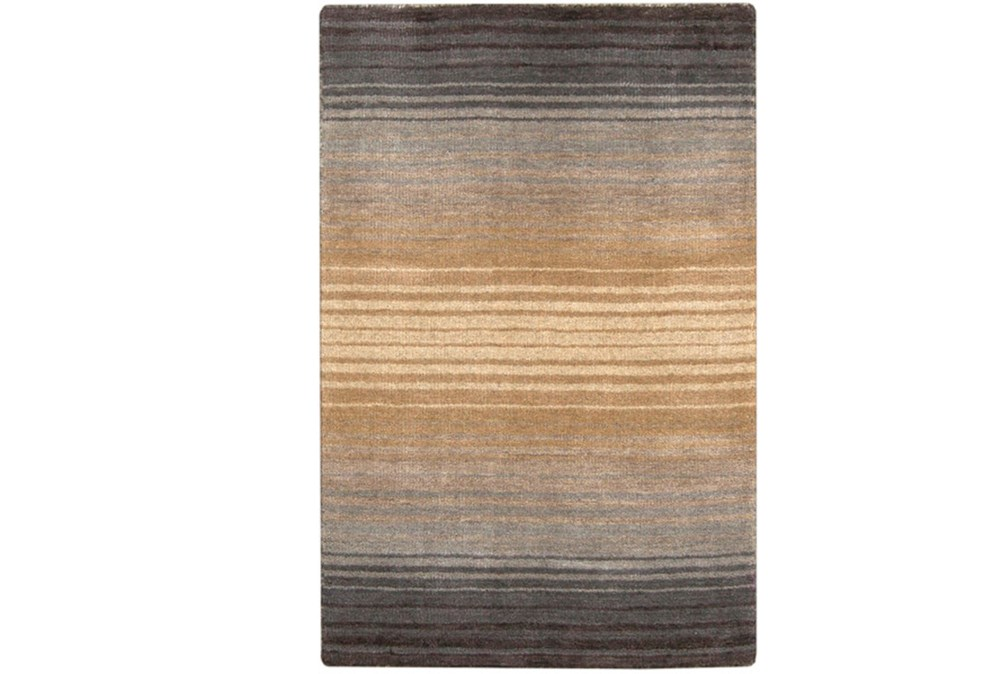 39X63 Rug-Tan And Charcoal Ombre Stripe