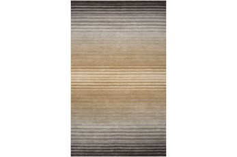 60X96 Rug-Tan And Charcoal Ombre Stripe