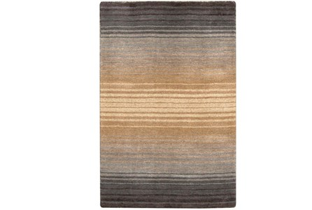 96X132 Rug-Tan And Charcoal Ombre Stripe