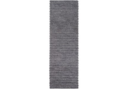 30X96 Rug-Braided Wool Blend Charcoal