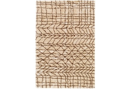 24X36 Rug-Plush Tribal Shag Khaki & Brown