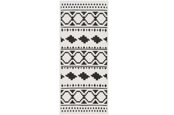 31X87 Rug-Graphic Tile Shag Black & White