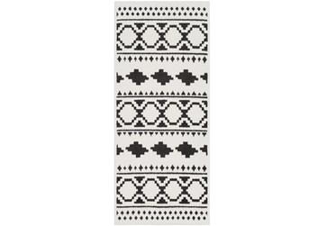 """2'6""""x7'3"""" Rug-Graphic Tile Shag Black & White"""