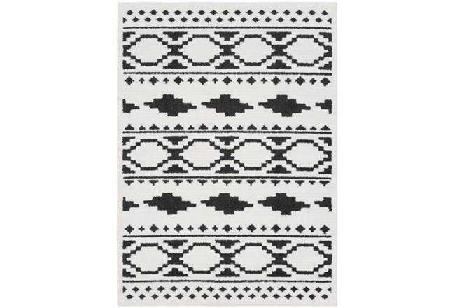 63X87 Rug-Graphic Tile Shag Black & White - 360