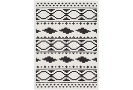 79X114 Rug-Graphic Tile Shag Black & White