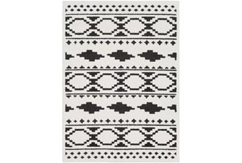 """6'6""""x9'5"""" Rug-Graphic Tile Shag Black & White"""