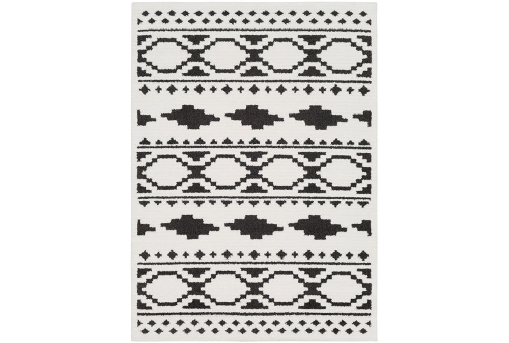 94X123 Rug-Graphic Tile Shag Black & White