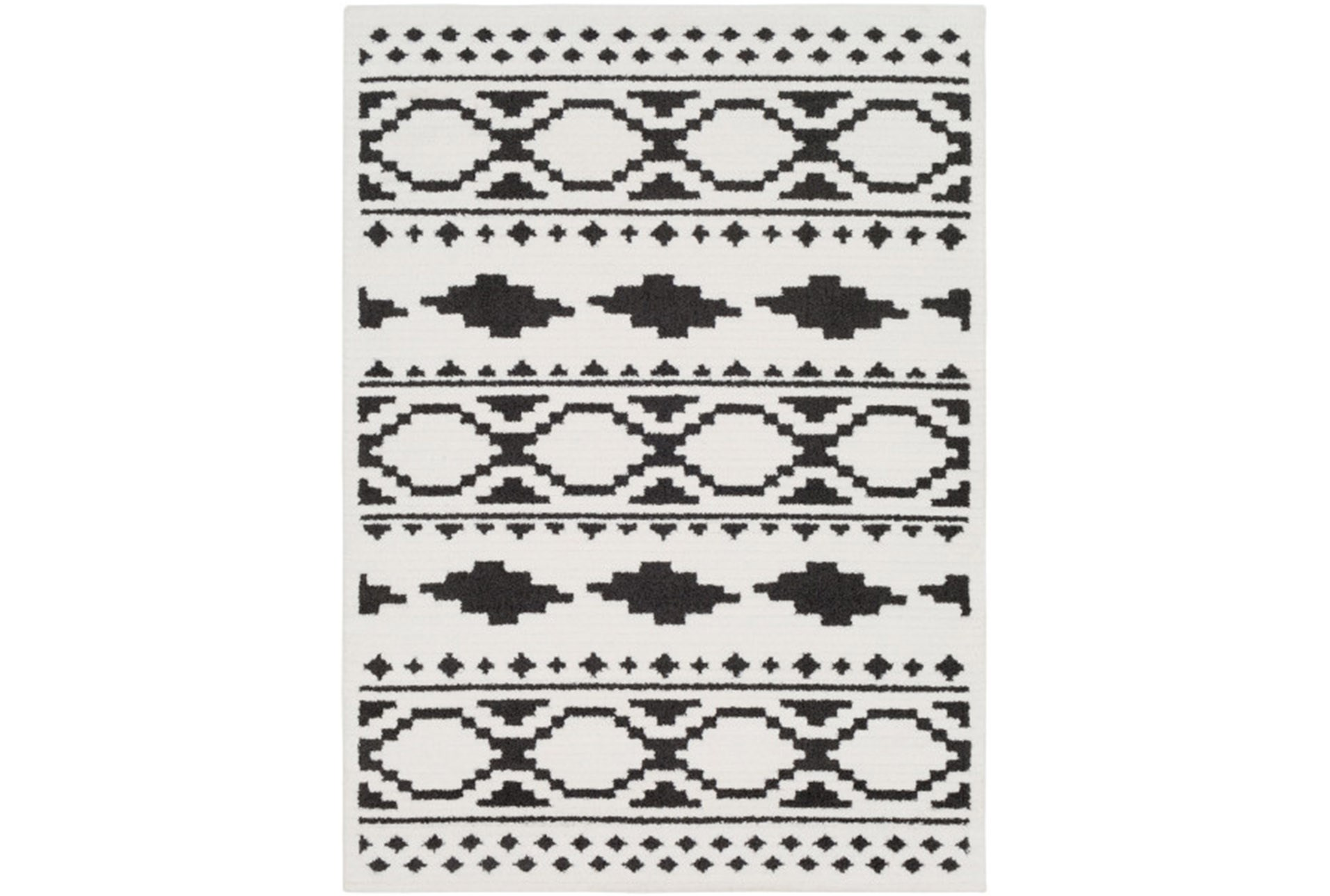 94x123 Rug Graphic Tile Black White